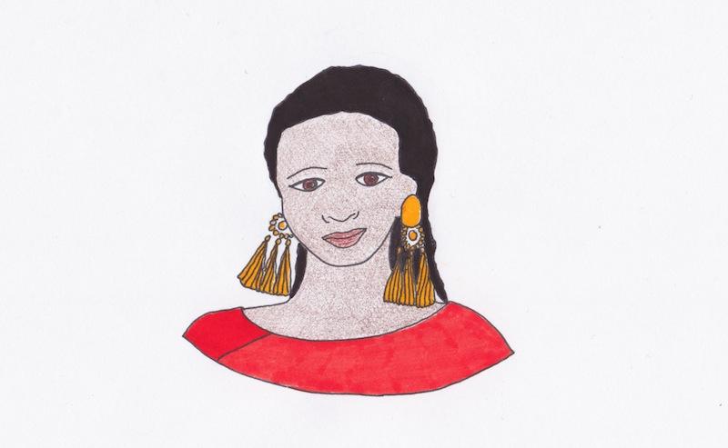 illustrazione di Claudia Avolio, omaggio all'artista Alaa Satir, Sudan, 2019