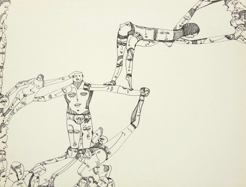 Mustafa acrobate (Mustafa Acrobat) 1971 Ink on paper 24.1 x 33.6 cm Courtesy Huguette Caland