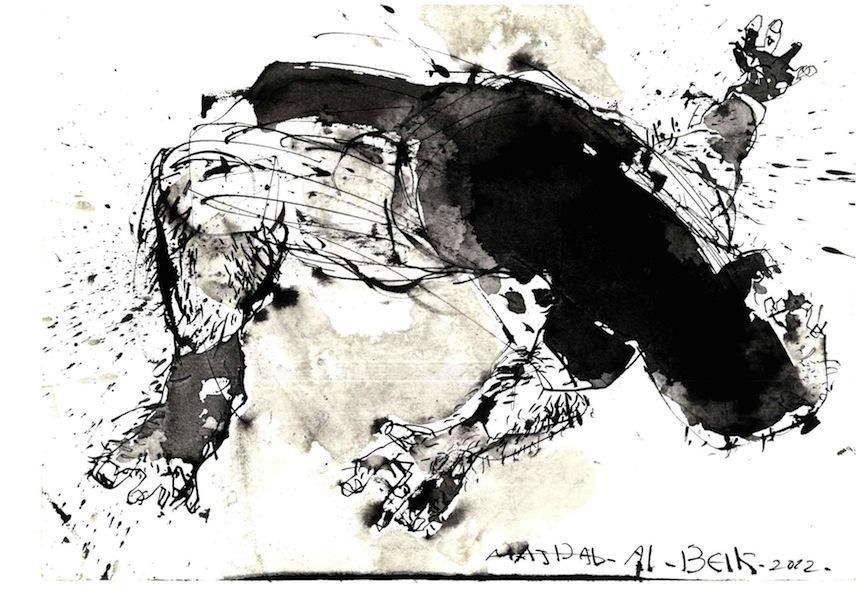 Abdul Karim Majdal al-Beik, The Martyr, 2012, inchiostro su cartoncino, formato A4. Courtesy of Abdul Karim Majdal al-Beik