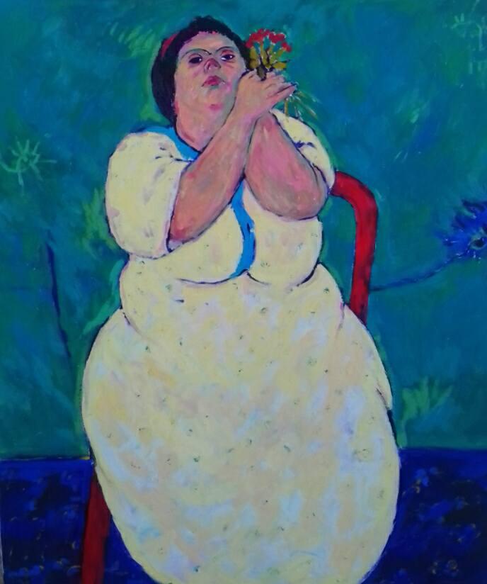Anas Albraehe, Manal, 2017, olio su tela, 115x95 cm. Courtesy of Anas Albraehe