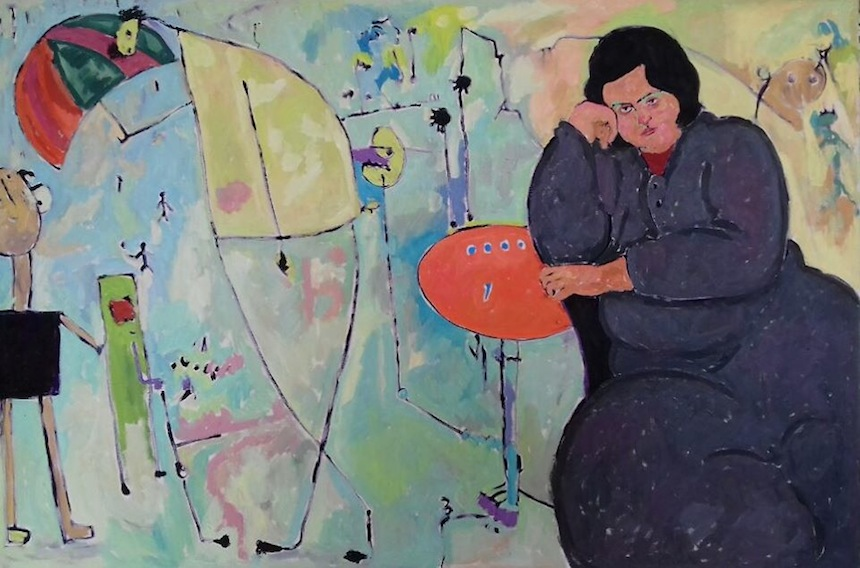 Anas Albraehe, Manal with Umbrella, olio su tela, 100x150 cm. Courtesy of Anas Albraehe