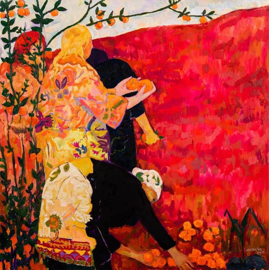Anas Albraehe, Senza titolo 2, 2019, olio su tela, 150x150 cm. Courtesy of Anas Albraehe
