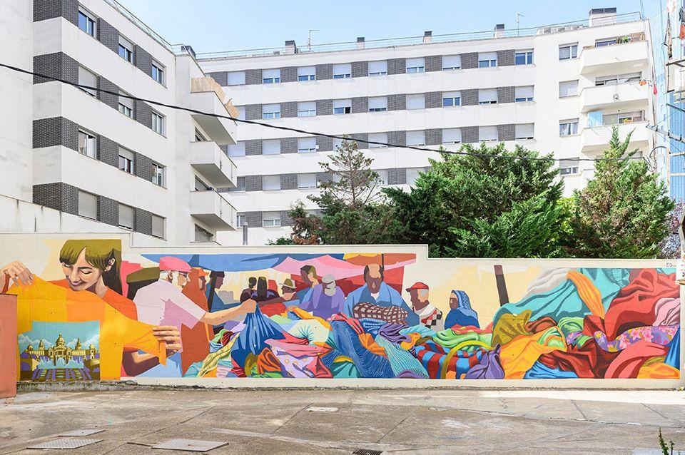 Uno scatto di Èric Pàmies del murale realizzato da ED Oner a Barcellona per Mural:Local di Jiser Reflexions Mediterrànies, 2019. Courtesy of Jiser