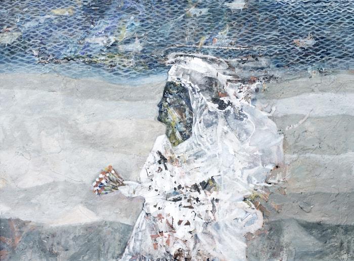 Tayseer Barakat, Shoreless Sea #15, 2019, acrilico su tela, 70 x 50 cm. Courtesy of Zawyeh Gallery (Ramallah)