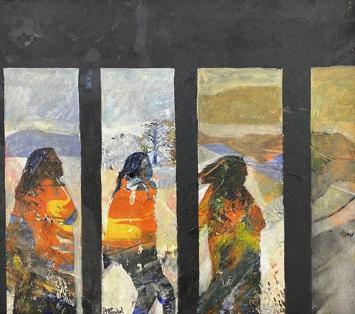 Tayseer Barakat, Shoreless Sea #30, 2019, acrilico su tela, 42 x 47 cm. Courtesy of Zawyeh Gallery (Ramallah)