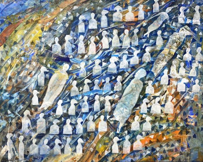 Tayseer Barakat, Shoreless Sea #38, 2019, acrilico su tela, 60 x 75 cm. Courtesy of Zawyeh Gallery (Ramallah)
