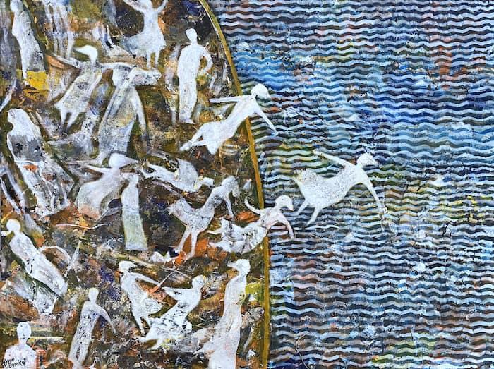 Tayseer Barakat, Shoreless Sea #40, 2019, acrilico su tela, 50 x 70 cm. Courtesy of Zawyeh Gallery (Ramallah)