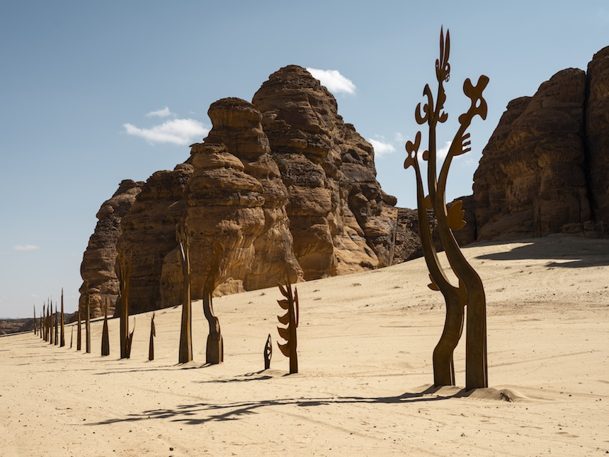 Nadim Karam, On Parade, installation view at Desert X AlUla, photo Lance Gerber, courtesy of the artist and Desert X AlUla
