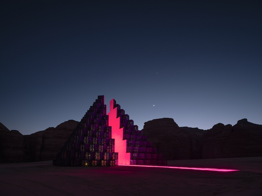 Rashed AlShashai, A Concise Passage, installation view at Desert X AlUla, photo Lance Gerber, courtesy the artist and Desert X AlUla
