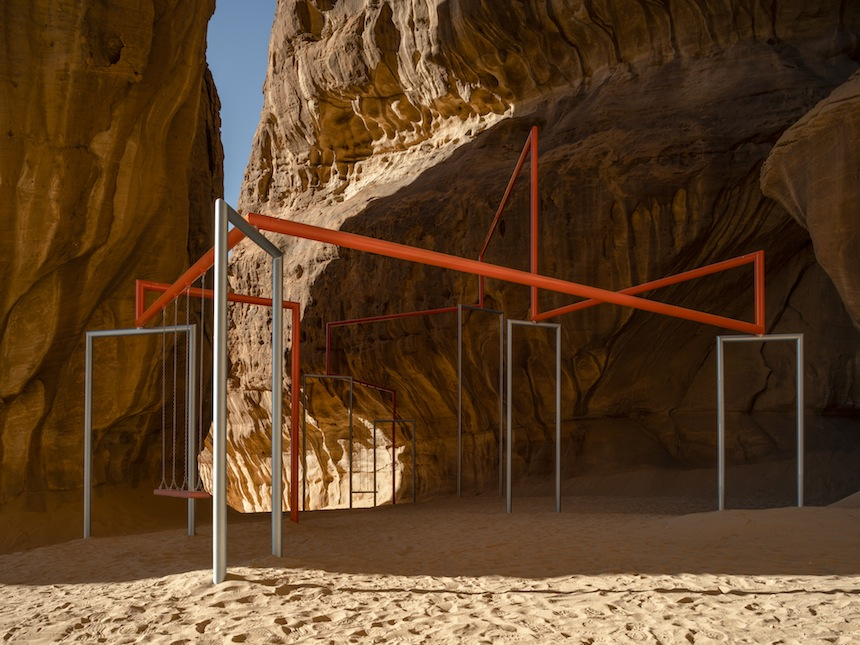 Superflex, One Two Three Swing! Installation view at Desert X AlUla, photo Lance Gerber, courtesy the artist and Desert X AlUla