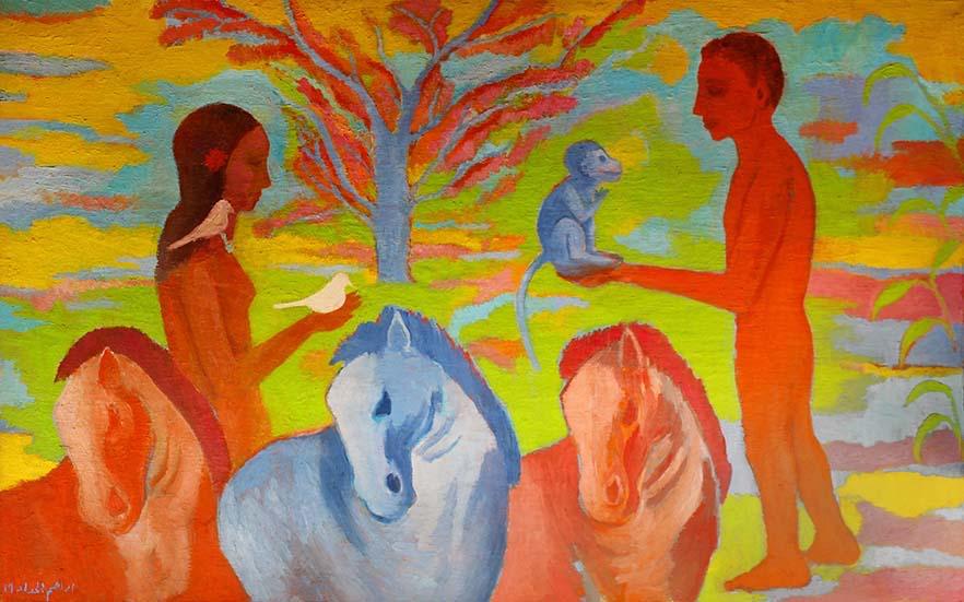 foto di Nashwa Abdelfattah di un'opera di Ibrahim El Haddad, 2019, olio su tela, 160x100 cm. Courtesy of Mashrabia Gallery of Contemporary Art (Il Cairo)