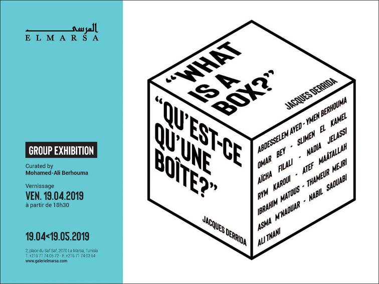 What is a box? Jacques Derrida. Exhibition at ElMarsa Gallery, Tunis, source Facebook event of the exhibition