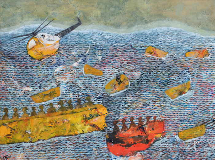Tayseer Barakat, Shoreless Sea, 2018, acrilico su tela, 50x70cm. Courtesy of Zawyeh