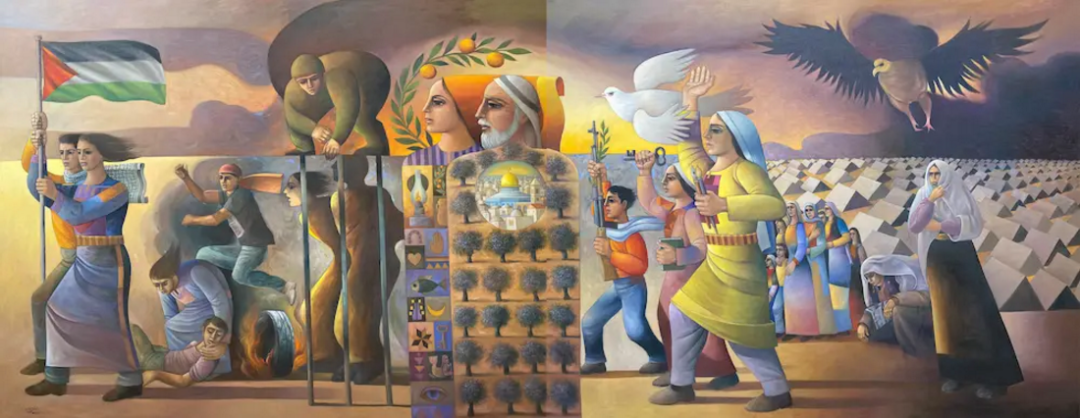 Sliman Mansour, Revolution was the Beginning, 2016, olio su tela, 200x500 cm. Courtesy of Zawyeh Gallery (Ramallah)